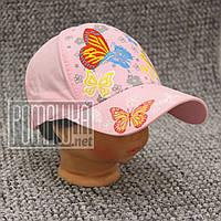 Детская р 50-52 1-4 года летняя бабочки кепка на девочку для девочки детей ребёнка хлопок 4809 Розовый 50