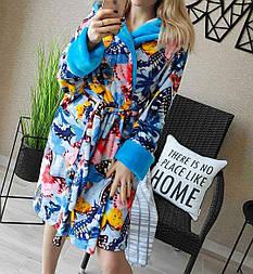 Домашний халат женский с капюшоном трендовый с красивыми принтами (р. 42-46) vN109582