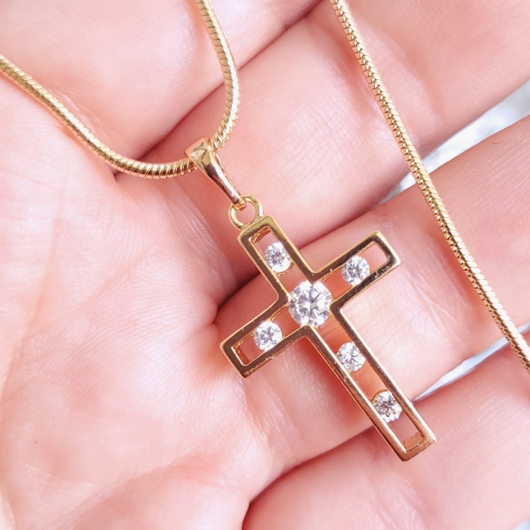 Хрестик 3.6см xuping з ланцюжком медичне золото позолота 18К к347