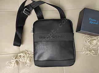 Мужская сумка с плечевым ремнем и надписью из кожзама 23*20*2 см