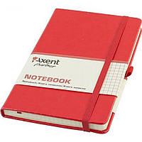 Блокнот Axent Partner Lux А5 96 листов клетка красный картонная обложка 8202-06-A