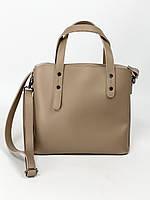 Бежевая женская сумка среднего размера из экокожи, фото 1