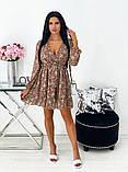 Короткое бежевое шифоновое платье с цветочным принтом 24-1423-1, фото 5