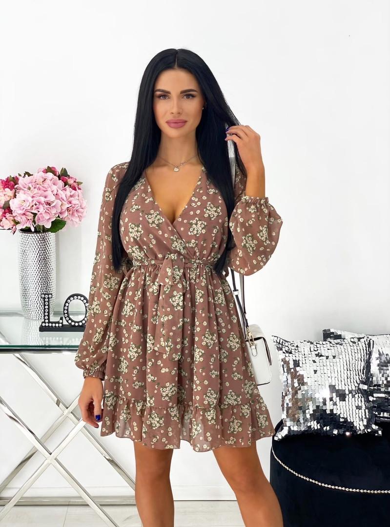 Короткое бежевое шифоновое платье с цветочным принтом 24-1423-1