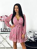 Короткое бежевое шифоновое платье с цветочным принтом 24-1423-1, фото 3