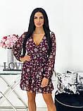 Короткое бежевое шифоновое платье с цветочным принтом 24-1423-1, фото 2