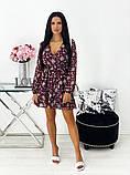 Короткое бежевое шифоновое платье с цветочным принтом 24-1423-1, фото 6