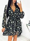 Короткое бежевое шифоновое платье с цветочным принтом 24-1423-1, фото 4