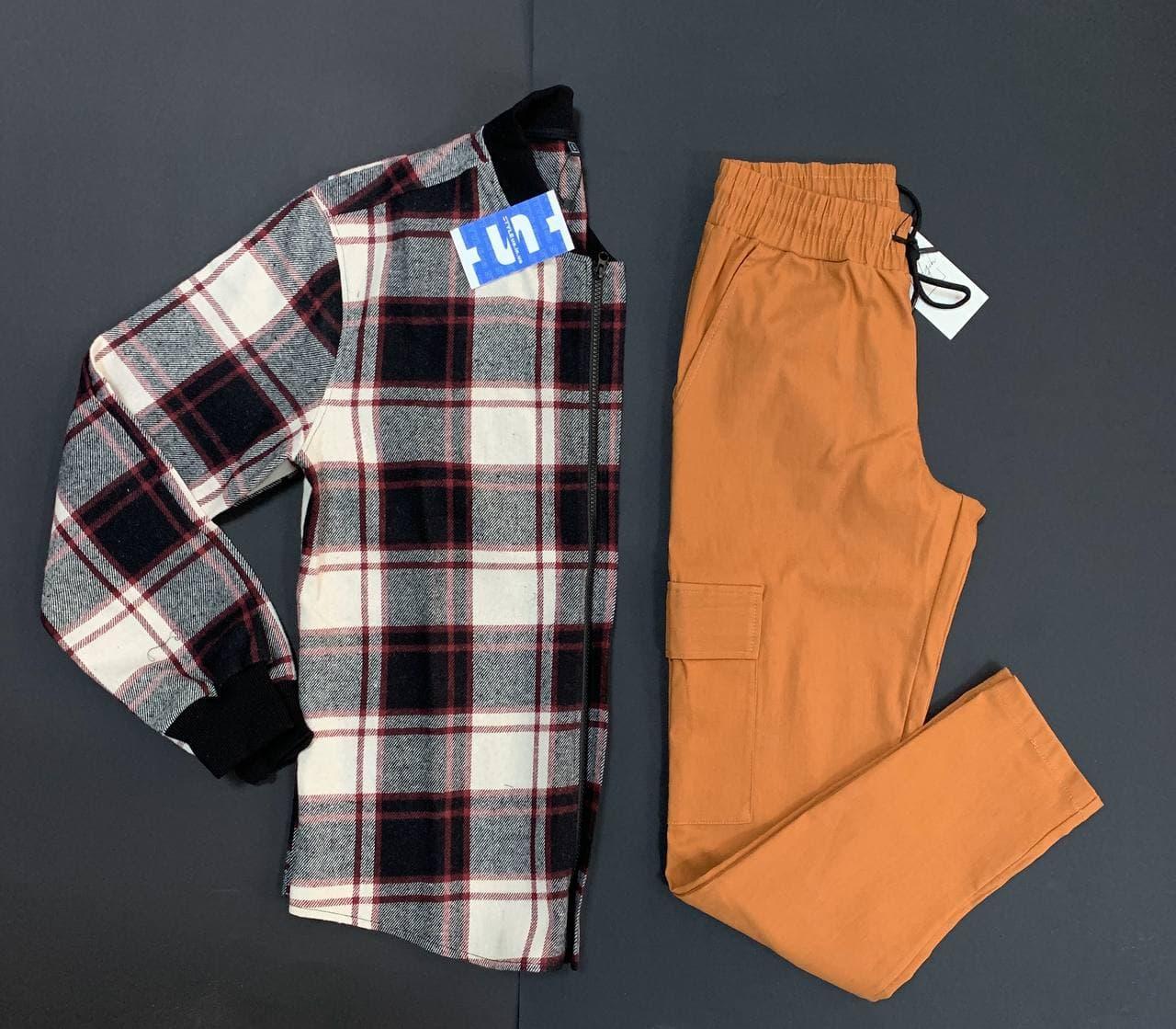 Мужской набор из клетчатой рубашки-бомбера + штанов-карго коричневых демисезон