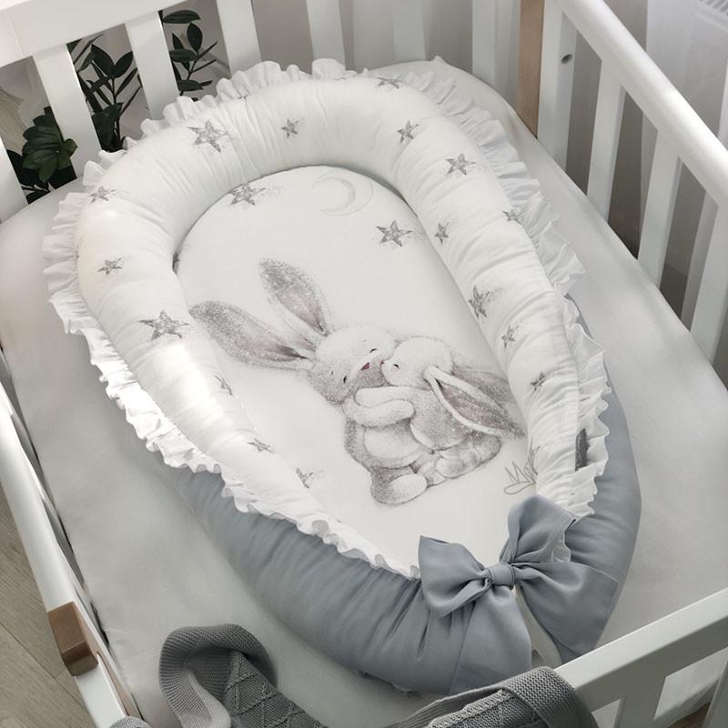 Кокон гездышко для новорожденных Magic Зайка серебро