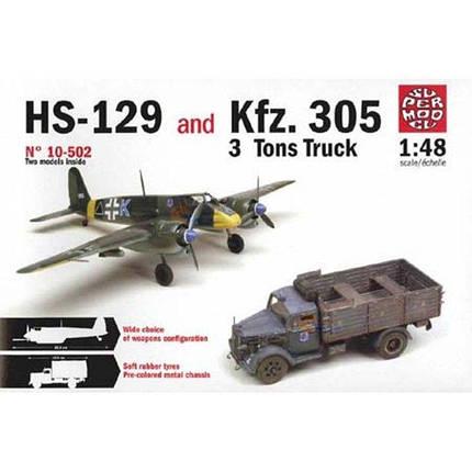 Italeri 1/72 HS-129 and Kfz. 305 3 Tons Truck, фото 2
