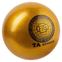 Мяч гимнастический TA SPORT, 280грамм, 16 см, глиттер, золото.