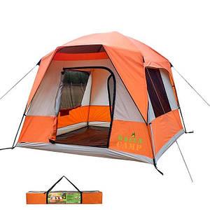 Палатка 4+1 местная GreenCamp 10, полуавтомат.