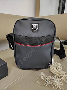 Мужская сумка-планшет со вставкой и логотипом из кожзама 24*19*4 см