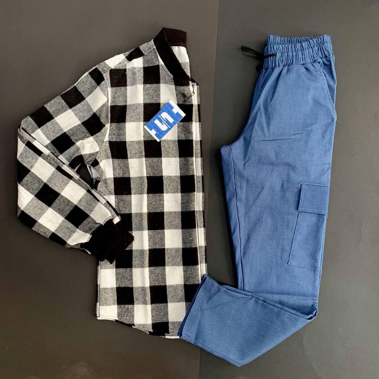 Мужской комплект Рубашка-бомбер клетчатая на молнии + Штаны карго синие на шнурке демисезон