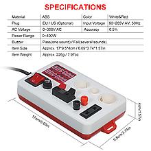 Энергометр + Тестер для перевірки ламп c дисплеєм, пробник на 3 патрона Е27, Е14, GU10, E10, E27, G4, G5.3
