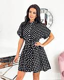 Короткий пудровое плаття в горошок з коротким рукавом 50-657-3, фото 2