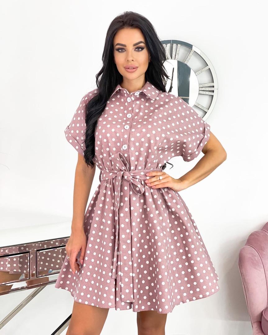 Короткий пудровое плаття в горошок з коротким рукавом 50-657-3