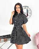 Короткий пудровое плаття в горошок з коротким рукавом 50-657-3, фото 5