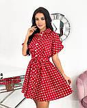 Короткий пудровое плаття в горошок з коротким рукавом 50-657-3, фото 6