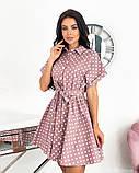 Короткий пудровое плаття в горошок з коротким рукавом 50-657-3, фото 4