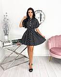 Короткий пудровое плаття в горошок з коротким рукавом 50-657-3, фото 8