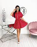 Короткий пудровое плаття в горошок з коротким рукавом 50-657-3, фото 9