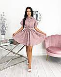 Короткий пудровое плаття в горошок з коротким рукавом 50-657-3, фото 7