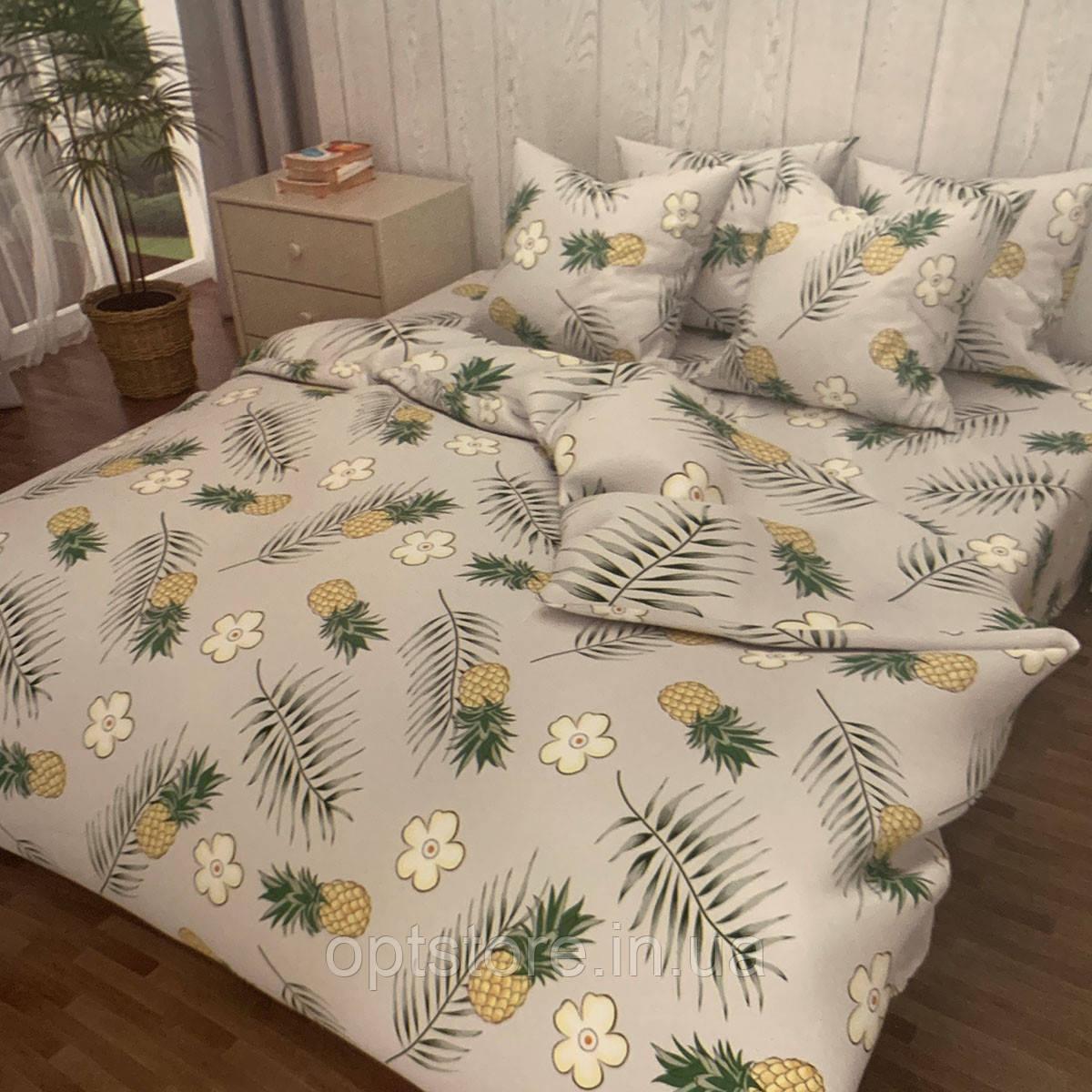 """""""ананас"""" комплект постельного белья двуспальный 180/210, нав-ки 70/70, ткань сатин, 100% состоит из хлопка"""