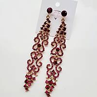 Серьги люстры ажурные в золоте с фиолетовыми камнями, фото 1