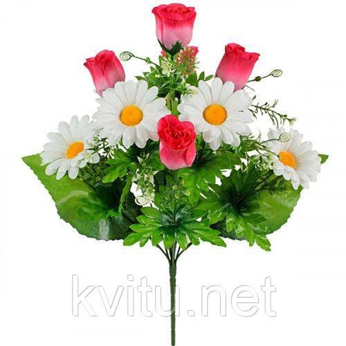 Искусственные цветы букет бутоны роз с ромашкой, 47см
