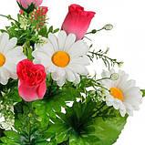 Искусственные цветы букет бутоны роз с ромашкой, 47см, фото 2
