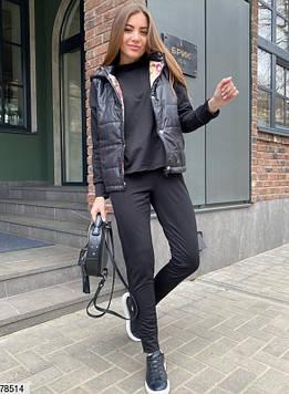 Молодіжний спортивний костюм трійка жіночий чорний, демісезонний, жилет - плащівка на синтепоні 100