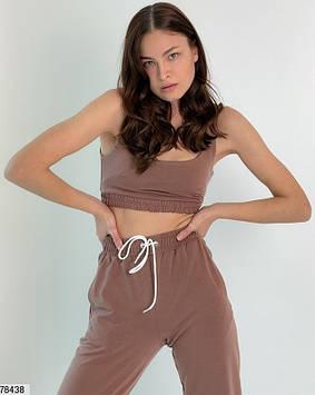 Модний спортивний костюм жіночий шоколадний, весна-літо, двунітка