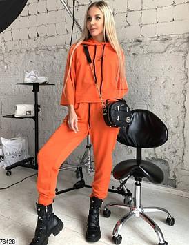 Модний спортивний костюм жіночий помаранчевий, весна-літо, турецька двунітка