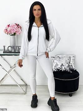 Молодіжний спортивний костюм тройкаженский білий, весна-літо, кофта - трикотаж двунітка