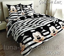 Детский полуторный комплект Микки Маус черно- белые полоски, бязь, хлопок