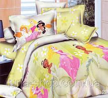 Детский полуторный комплект Принцессы на желтом , с 2 наволочками,  (хлопок)