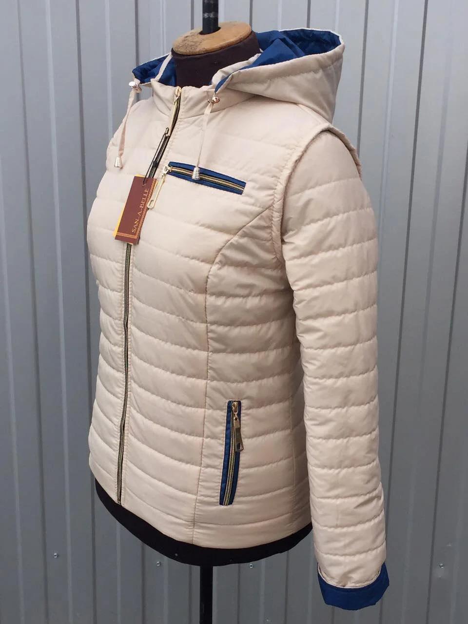 НЕДОРОГО модна жіноча демісезонна куртка трансформер р. 42, 44, 46, 48, 50, 52, 54, 56, 58