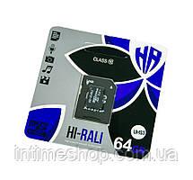 Мікро сд карта пам'яті HI-RALI 64 гб з адаптером, class 10, карта пам'яті sd для фотоапарата, телефону