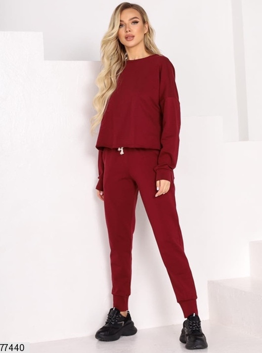 Модный спортивный костюм женский бордовый, демисезонный, турецкая двунитка пенье