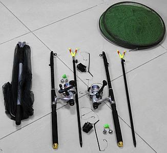 Спиннинги 2,7м с катушками в Сборе 2шт Универсальный рыболовный набор + подсак, садок, подставки