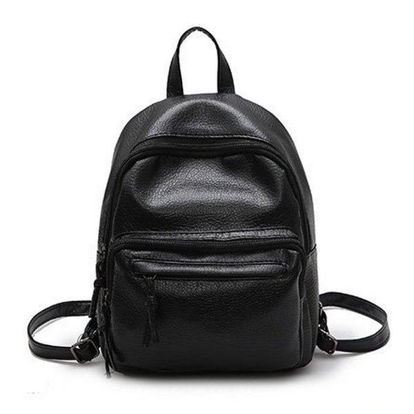 Женский рюкзак из эко-кожи, черный рюкзак для девушки, повседневный городкой рюкзак СС-3723-10