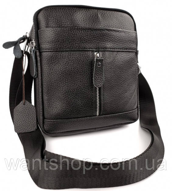 Мужская кожаная сумка-барсетка через плече Tiding Bag SK N7689  черная