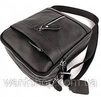 Мужская кожаная сумка-барсетка через плече Tiding Bag SK N7689  черная, фото 7