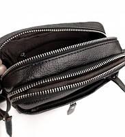Мужская кожаная сумка-барсетка через плече Tiding Bag SK N7689  черная, фото 8