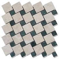 Мраморная мозаика МКР-6П VB+VG (полированная) //48*48*6 Desert Oasis +  23*23*6 Verde Guatemala