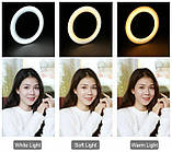 Светодиодная кольцевая LED лампа 20см USB + Штатив тренога, фото 3