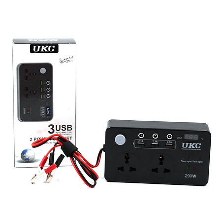 Преобразователь DC/AC 200W 12V LCD / USB, фото 2