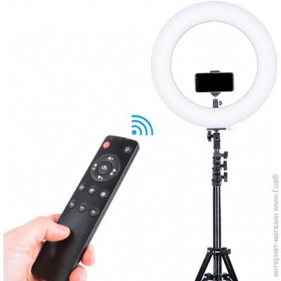 Кольцевая LED лампа AL-390 с пультом + Штатив тренога (39см 220V 1 крепл.тел.)